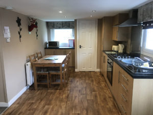 kitchen in chalet red deer holiday park glasgow